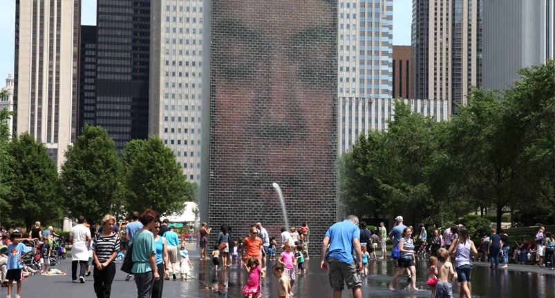Crown fountain à Chicago